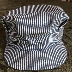 Child's blue & white striped collectible train cap